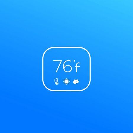 Digital thermostat icon, minimal vector