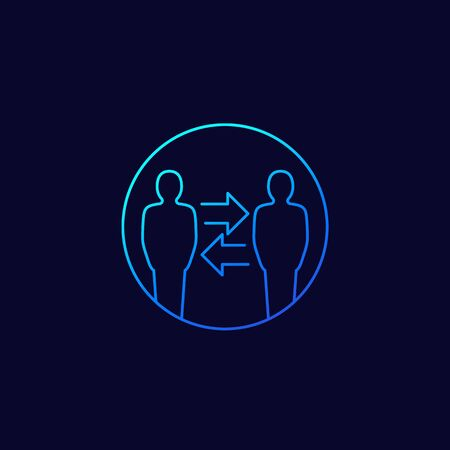 change people, hr vector line icon