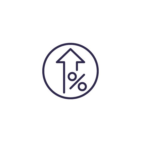 profit increase and growth icon, line vector