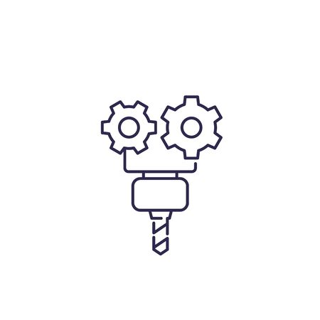 CNC service, vector line icon