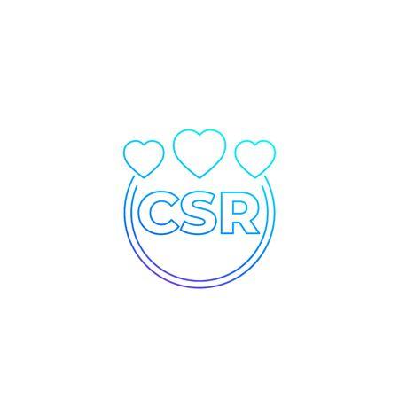 CSR vector line icon, corporate social responsibility