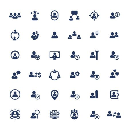 Human resources, HR, personnel, management, clients and customers icons set