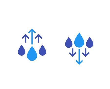 humidity level up and down icons, vector