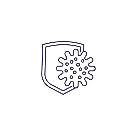 antibacterial protection vector line icon
