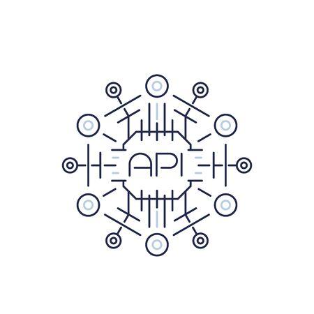 API icon, application programming interface, software protocols, line vector