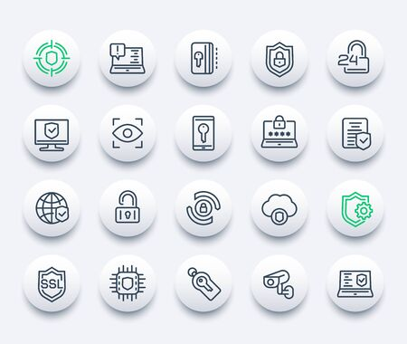 Security and protection icons, vector line set, secure connection, cybersecurity, privacy and protected data