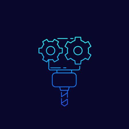 CNC service, vector icon, linear Vector Illustratie