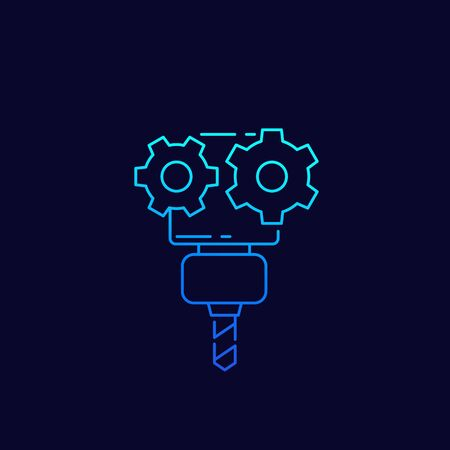 CNC service, vector icon, linear Ilustração