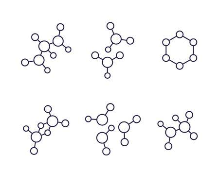 molecule icons, science line vector set