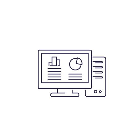 workstation computer line icon on white