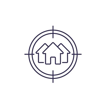 house search, real estate vector line icon Illustration