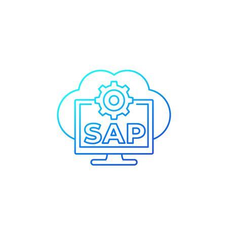 SAP, business cloud software vector line icon