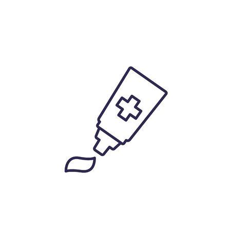 ointment, tube with cream icon, line Ilustração