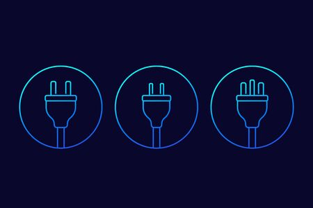 electric plugs icons, linear vector