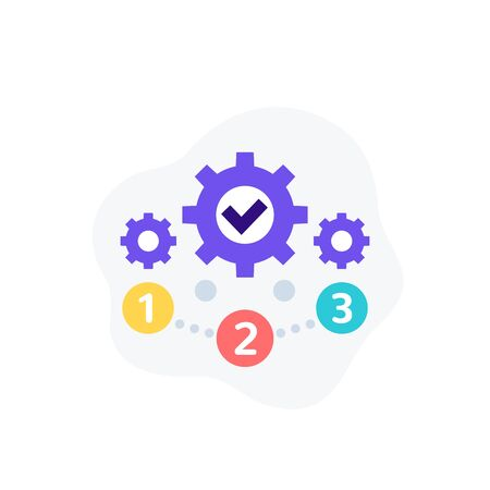 project management, 1, 2, 3 steps vector icon