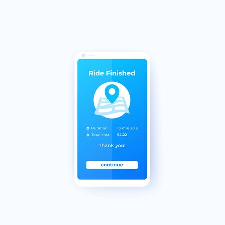 Ride finished, mobile app ui, vector
