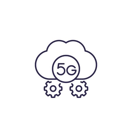 5G network icon with cloud, line