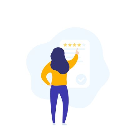 feedback and review, vector icon with a girl Иллюстрация