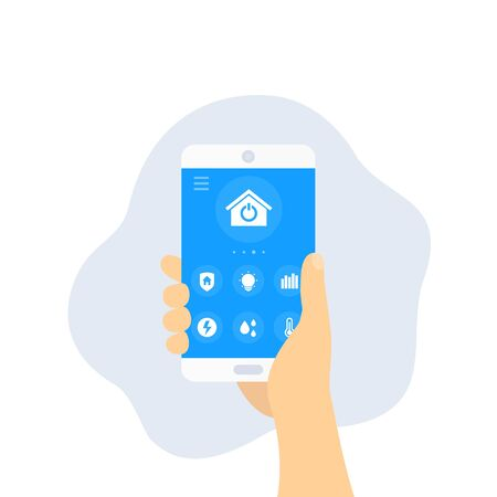 Smart home app, smartphone in hand, vector
