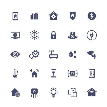 Smart home, house automation system icons set, vector