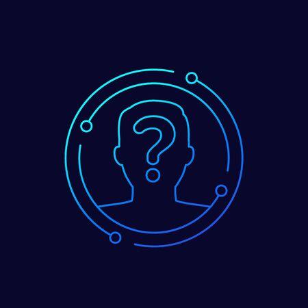 unknown person, user icon, line vector