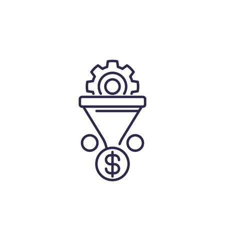 sales funnel vector icon on white, line 向量圖像