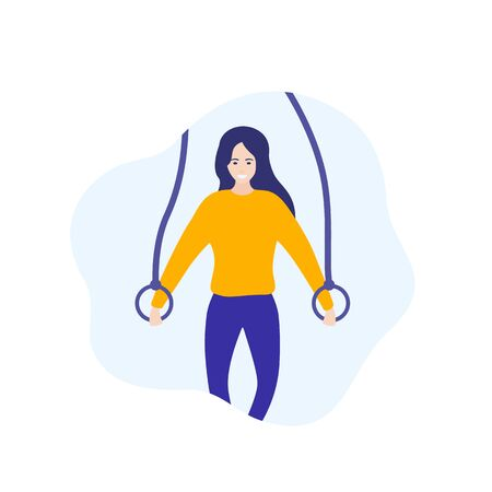 girl training with gymnastic rings, vector