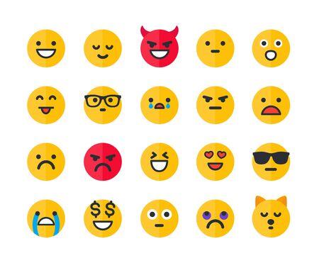 Emoticons, Emoji-Vektor-Icons gesetzt
