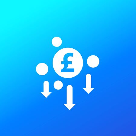 cost reduction, minimising icon with pound, vector