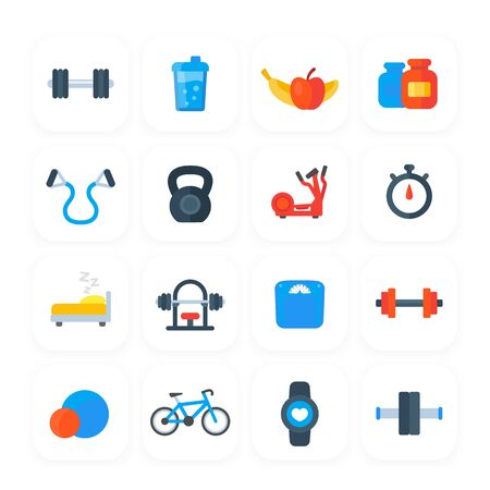 Fitness, gym and training icons Ilustración de vector