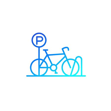 Bicycle parking icon, line vector