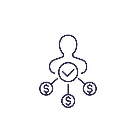 shareholder icon on white, line vector
