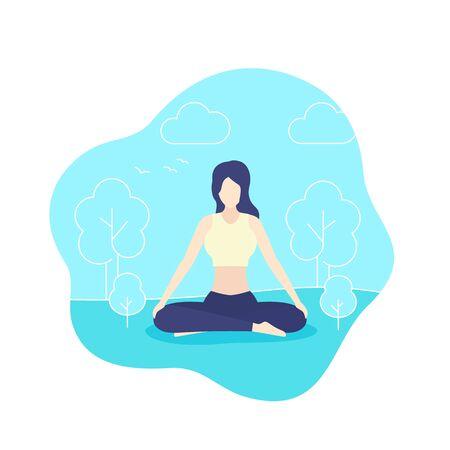 yoga, girl meditates in park, vector