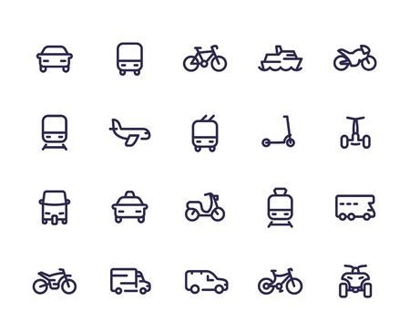 Transport line icons set Vector Illustration