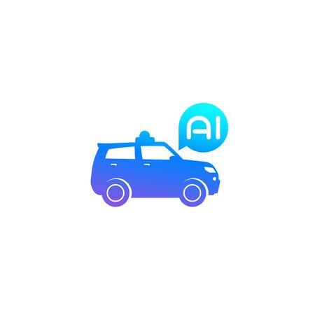 autonomous car SUV with AI icon