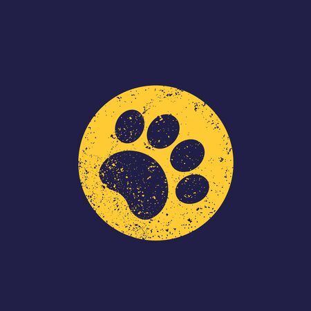 paw print, vector with grunge Illustration