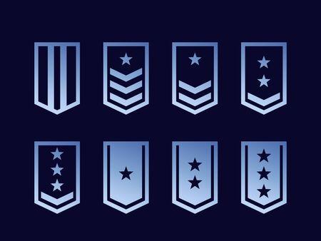 Military ranks, army epaulettes vector set Ilustração