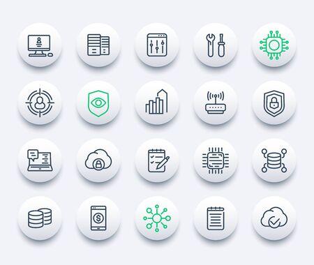 communication, technology and IT, vector line icons Ilustração
