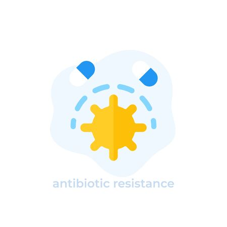 antibiotic resistance icon, flat vector