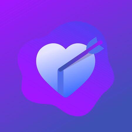 heart with arrow icon, vector Ilustração