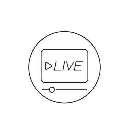 Live stream player icon, line vector Ilustração