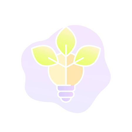 light bulb with leaves, vector trendy icon