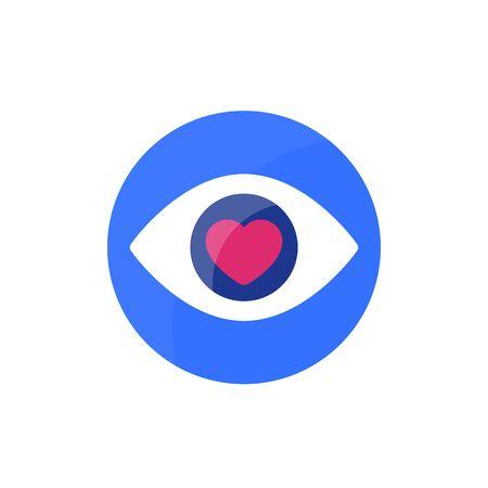 Eye with heart, vector logo design