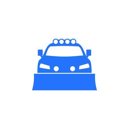 snowplow truck icon on white Vettoriali