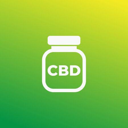 CBD medicine bottle vector icon