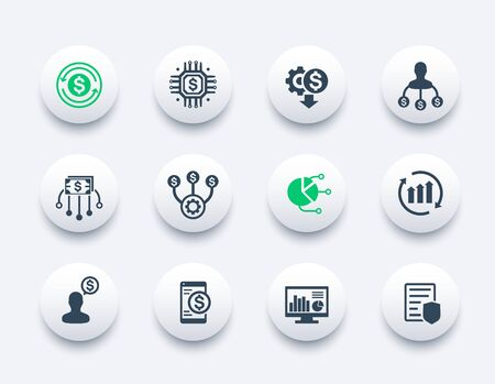finance management, financial planning icons set