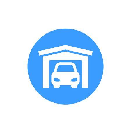 Garage icon, vector round sign