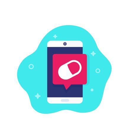 pill reminder app, vector icon