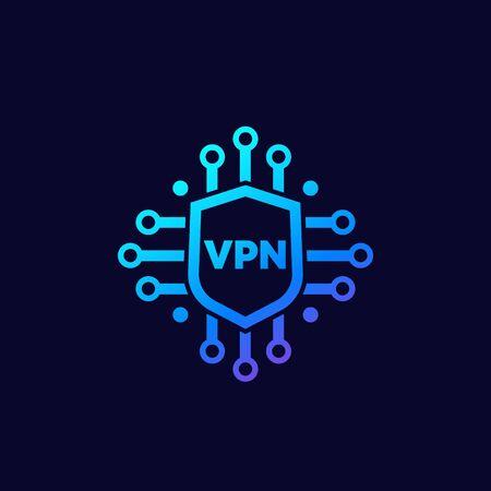 VPN icon with shield, vector