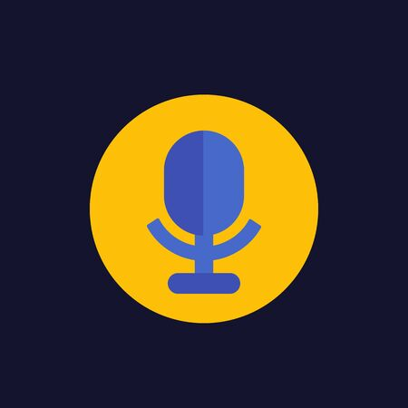 microphone, audio recording icon in flat style